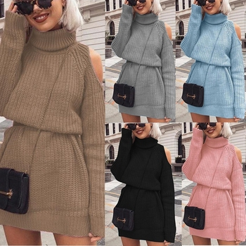 Turtleneck Long Sweater Dress Women Thick Knitted Pullovers Fashion Casual Solid Sexy 2020 Loose Off Shoulder Winter Clothes turtleneck long sweater autumn winter off shoulder knitted sweater dress women solid slim plus size pullovers knitting jumper
