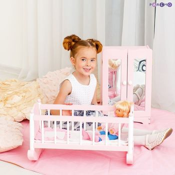 Furniture Toys PAREMO  A set of doll furniture wardrobe + cradle), Pink for children toys for kids game furniture dolls doll houses furniture for bed for accessories doll for marie a
