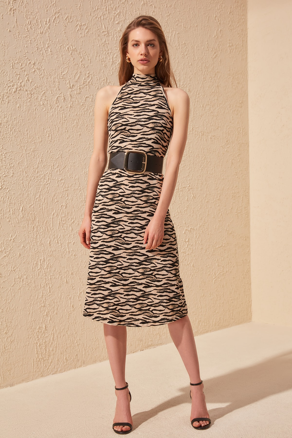 Trendyol Pattern Midi Knitted Dress TWOSS20EL0595