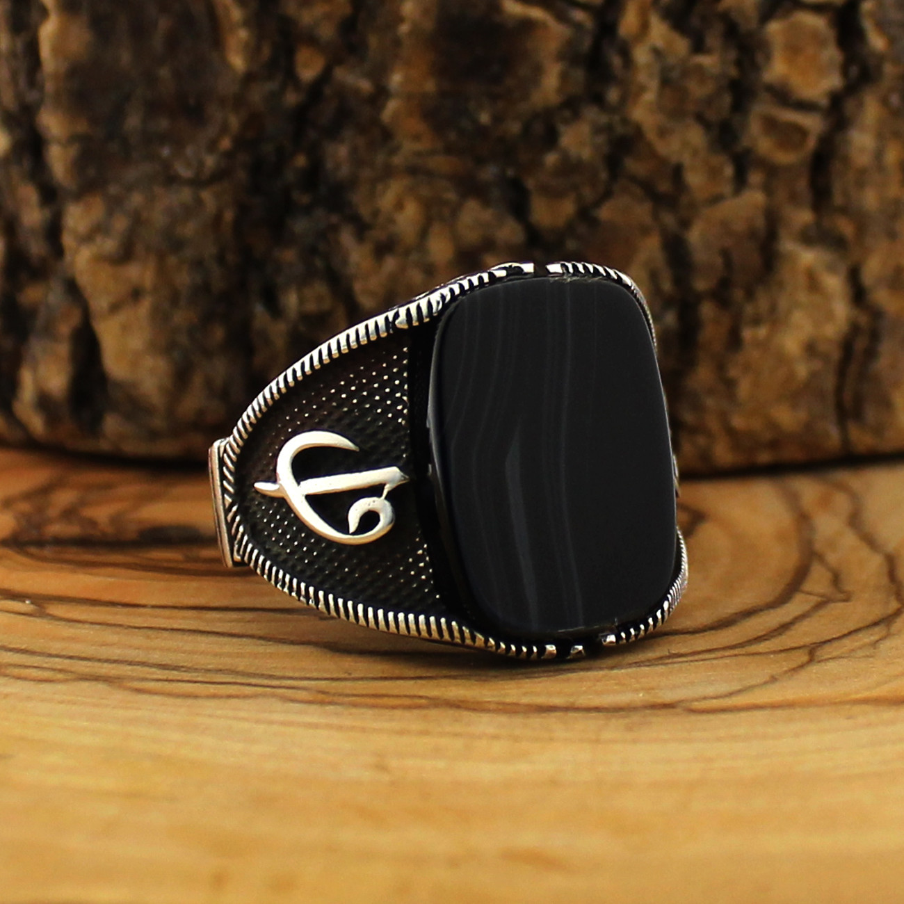 925 Sterling Silver Ring for Men Solimani Black Agate Stone Onyx Jewelry fashion vintage Gift Rings All Size Made in turkey