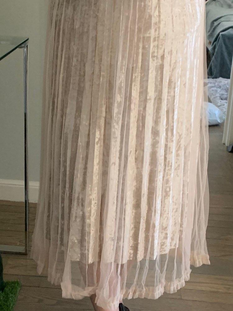 Fashion Beading Tulle Velvet Skirt Women Spring Elegant Long Maxi Skirt Female High Waist Pleated Girls Skirt Pink photo review
