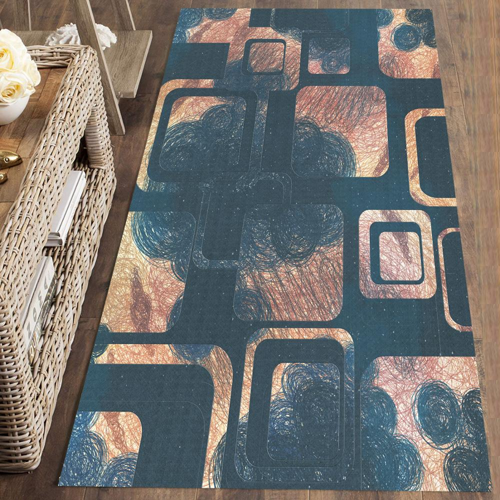 Else Brown Green Abstract Square Geometric 3d Print Non Slip Microfiber Washable Runner Mats Floor Mat Rugs Hallway Carpets