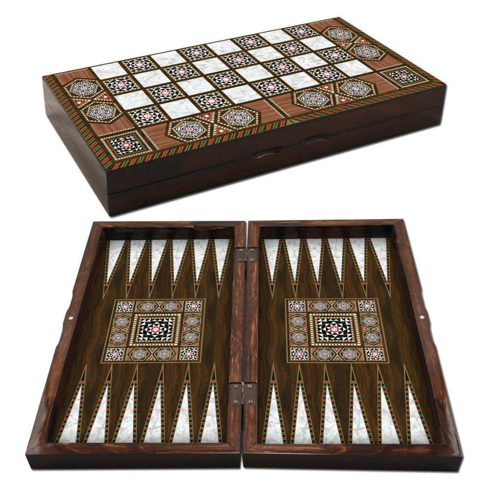 Massive Mother Of Pearl Backgammon Set Big Size, Solid Wood Case, Family Board Game, Sedef Tavla Set