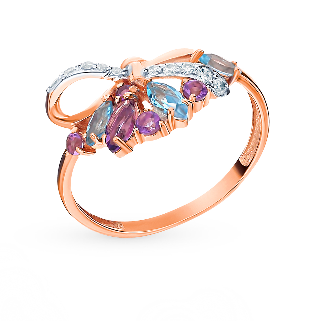 Gold Ring With Amethyst, Topaz And Cubic Zirconia Sunlight Sample 585