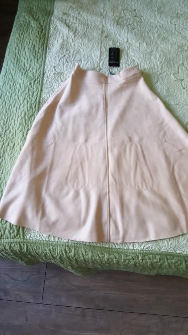 Women Suede High Waist Midi Skirt Winter Vintage Style Pleated Ladies A Line Black Flare Skirt Saia Femininas photo review