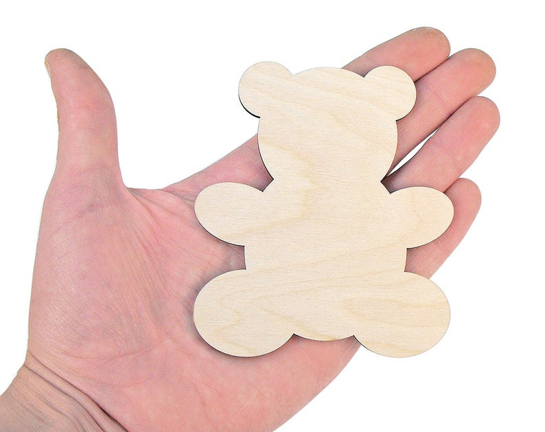 set of 10 laser cut wooden teddies for garland tags baby gift unpainted