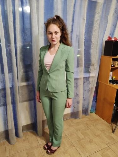 Green Female formal Women's Pants Suits Classic Office Lady Business Pantsuit Blazer Trouser Suit Set Work wear Uniform Costumes reviews №3 104032