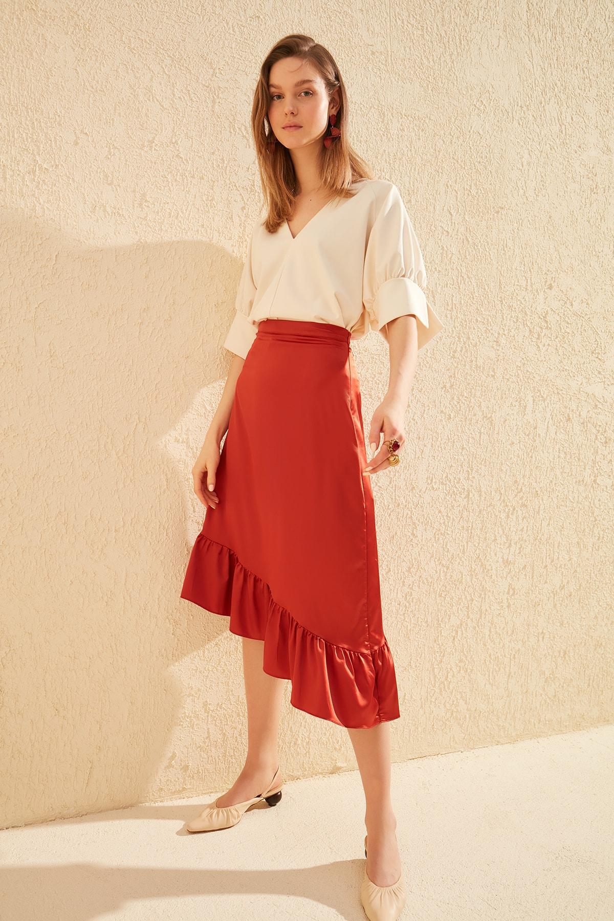 Trendyol Asymmetrical Flounces Skirt TWOSS20ET0089