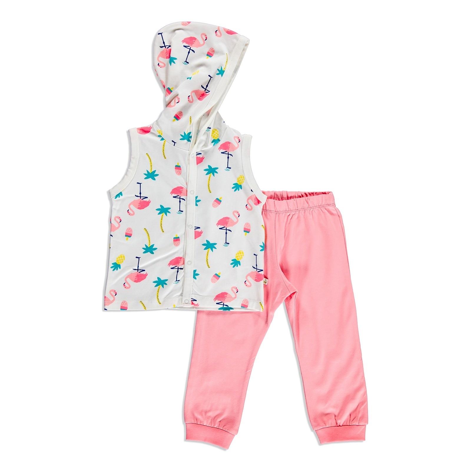 Ebebek For My Baby Summer Girl Flamingo Bodysuit Pant 2 Pcs Set