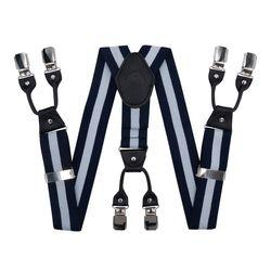 Hosenträger für hosen breite (4 cm, 6 clips, blau gestreiften) 55125