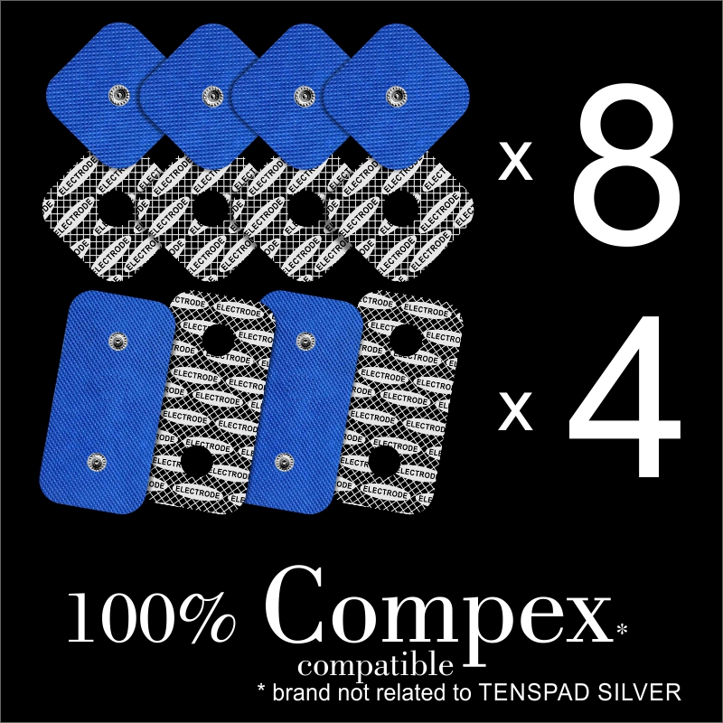 TENSPAD SILVER - 12 Electrodes For COMPEX (8 Electrodes 50x50mm + 4 Electrodes 50x100mm With 2 SNAP)