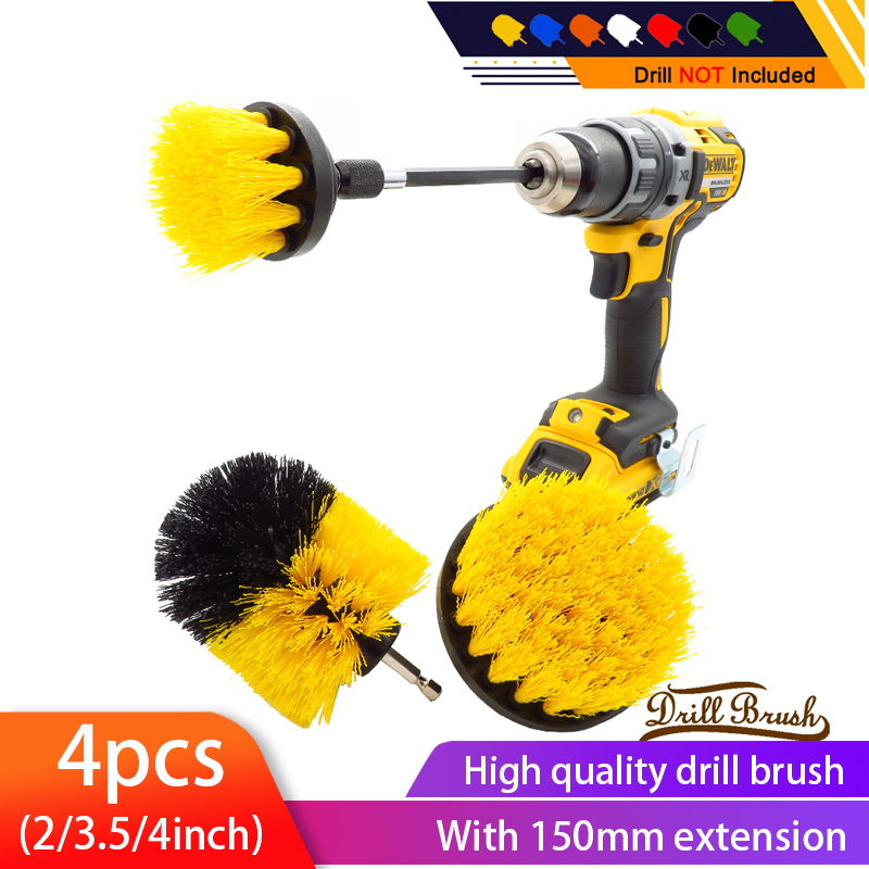 4pcs/set power scrubber drill brush kit Electric Cleaning Brush with Extension for Car,Grout, Tiles,Bathroom, Kitchen & Auto(China)