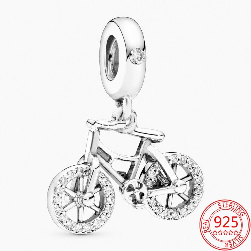 Новые поступления 925 пробы серебро вращающийся велосипед с подвесными украшениями из бусин пригодное Марка Браслеты Рождественский подаро...