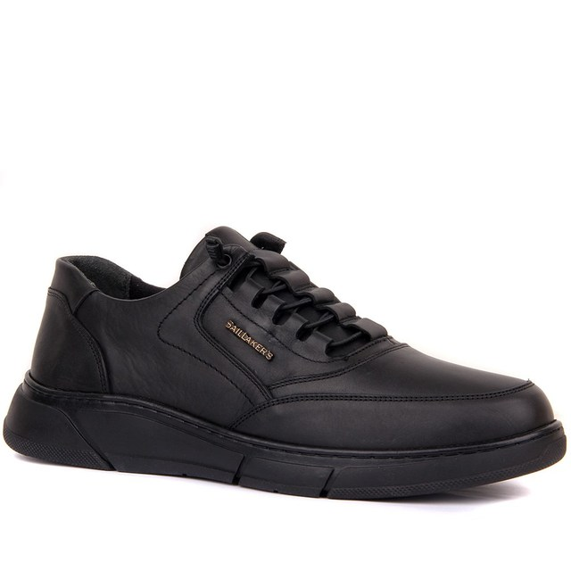 Sail-Lakers Black Genuine Leather Men Comfort Casual Shoes Man Sneakers Sports Shoes Lace-up шнурки Male Shoes Comfortable Breathable Walking Outdoor Tenis Masculino zapatos de hombre кроссовки мужские