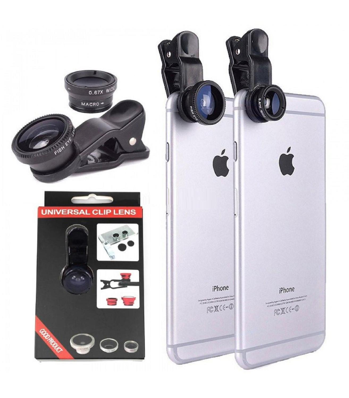 Объектив камеры Универсальный для мобильного телефона рыбий глаз Широкий угол макросъемки черный