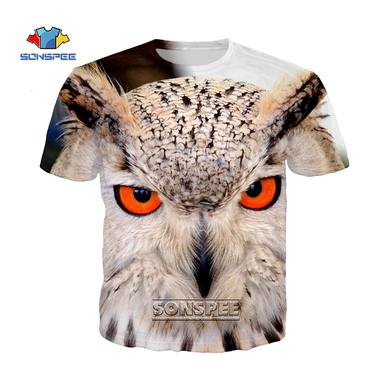 SONSPEE New Europe Style Animal Owl T Shirt Crewneck Short Sleeve Harajuku Men Women T-shirt 3D Print Fashion Tee Shirt Tops