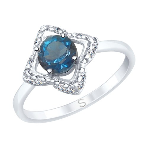 SOKOLOV Ring Made Of Silver With A Blue Topaz And Fianitami