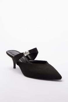 Casual Women 'S Black Slippers Sexy Stylish Looking Street and Formal Style Faux Leather Suede Black Female Slippers stylish women s slippers with pointed toe and solid colour design