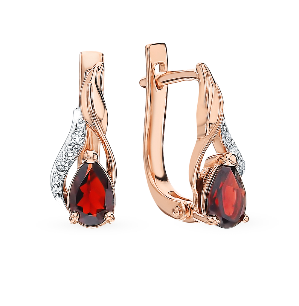 Gold Earrings With Garnet And Diamonds Sunlight Sample 585