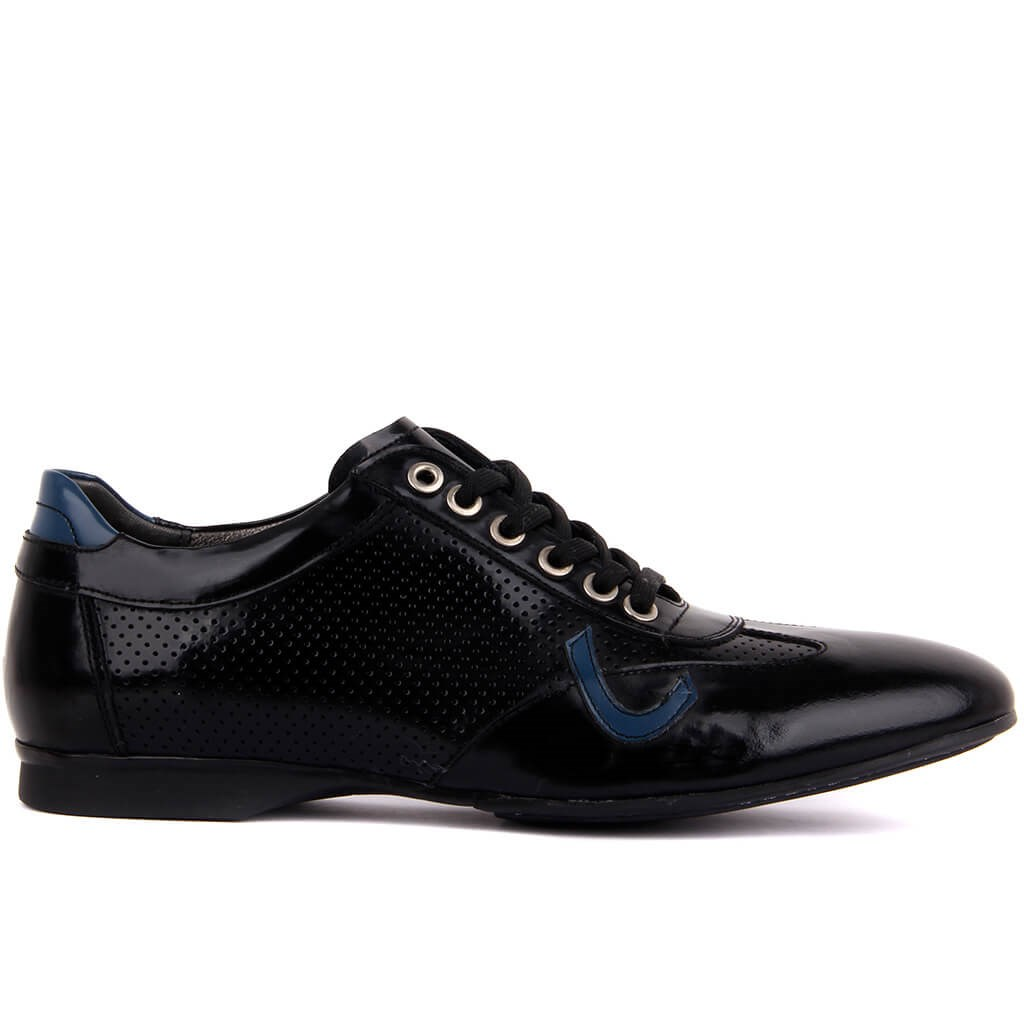 Sail-Lakers Black Opening Leather Man Casual Shoes