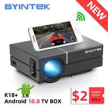 Byintek k8 mini portátil 1080p 150 polegada de cinema em casa digital lcd vídeo led projetor para 3d 4k cinema (opcional android 10 caixa de tv)