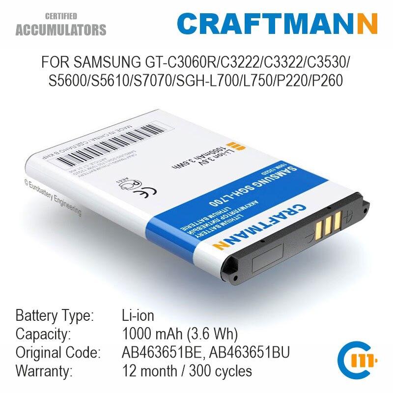 Batterie pour Samsung, pour modèles C3222/C3322/C3530/S5600/S5610/S7070/L750/P220/P260 (AB463651BE/AB463651BU/AB463651BA)