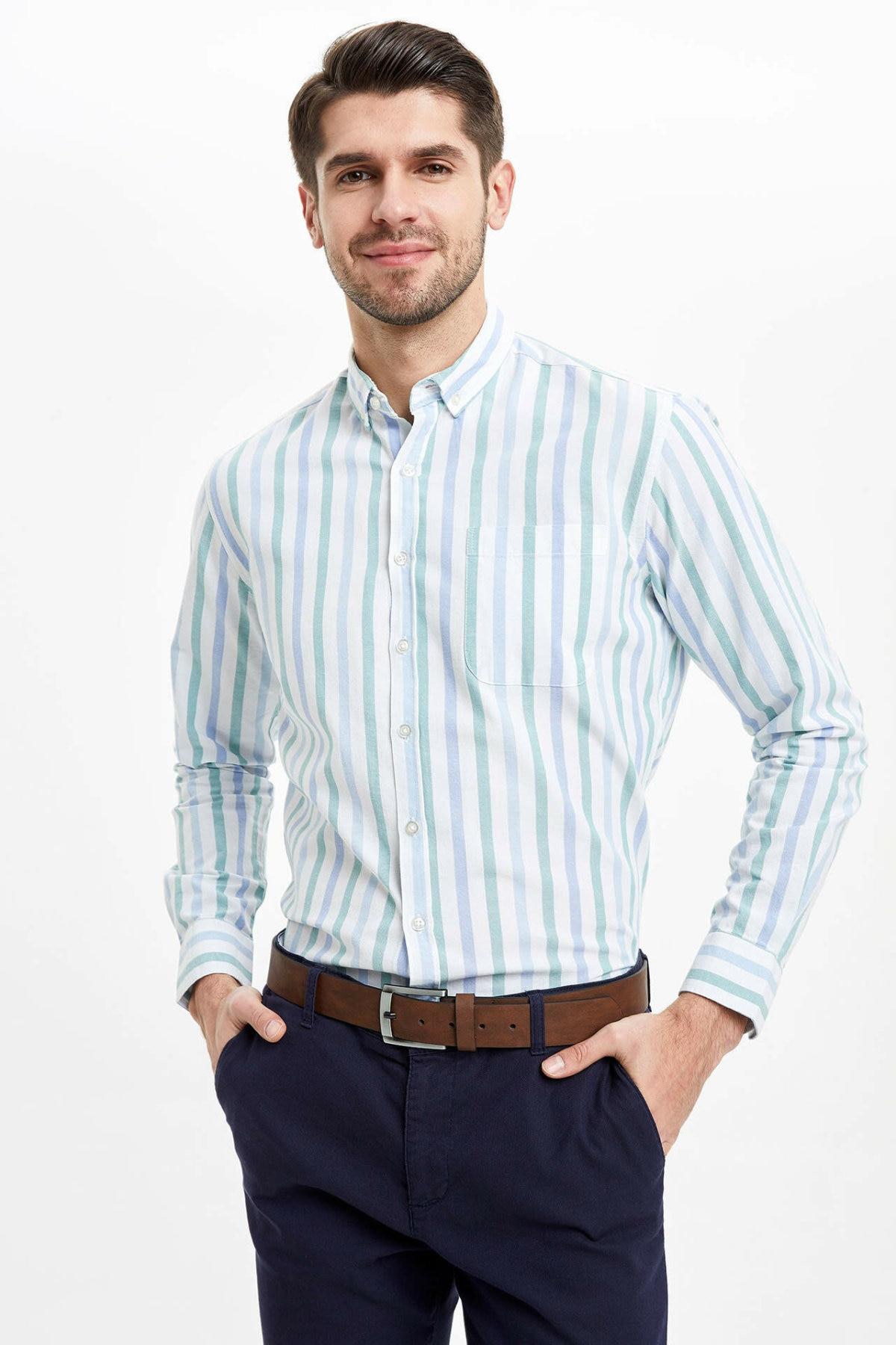 DeFacto Man's Striped Long Sleeve Shirt Men's Spring Casual White Shirts Men's Smart Casual Shirts-M7508AZ20SP