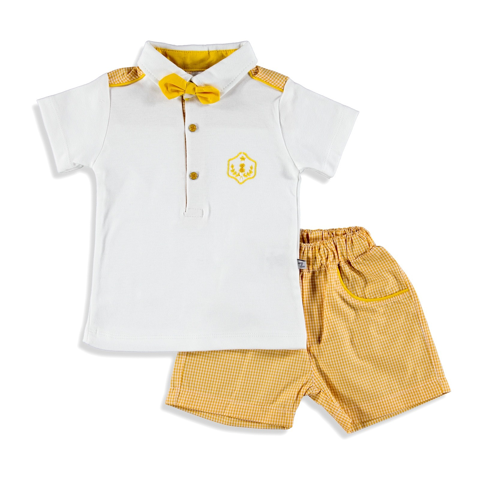 Ebebek BabyZ Baby Boy Bow Tie Polo Neck Tshirt Short Set