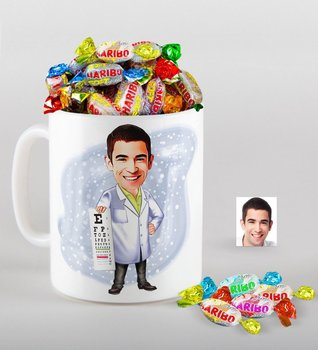 Personalized Mr Ophthalmologist Caricature Of mug And Haribo Fruitbons Candy Gift set