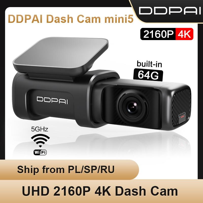 Ddapai traço cam mini 5 4k uhd android câmera do carro 24h estacionamento build-in wifi gps condução de vídeo 2160p câmera do carro