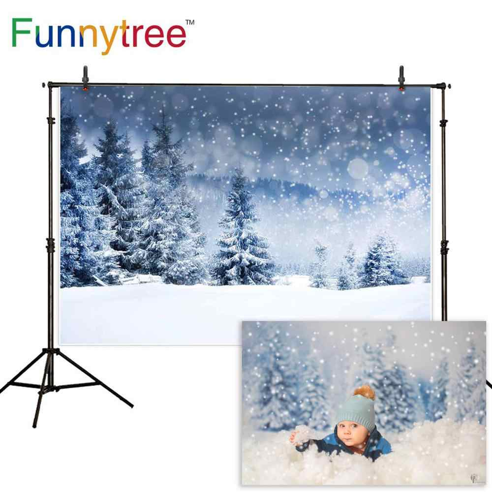 Funnytree photo arrière-plan noël toile de fond studio hiver photophone neige forêt pin nature vue bokeh photobooth photocall