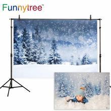 Фон Funnytree для фотостудии зимний Фотофон с изображением снежного леса сосны природы