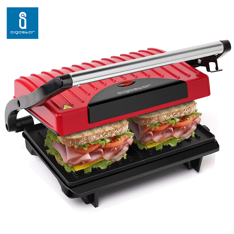 Aigostar Warme 30HHH - Panini Maker/Gontact Grill, Sandwich Press, Electric Grill, 700 Watt, Cool Touch ,Nonstick. image
