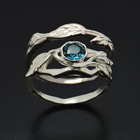Gemsbird Fashion Woman Girl Blue Natural Topaz Branch Ring Jewelry 925 Sterling Silve 2 Ring Set For Women Fine Jewelry