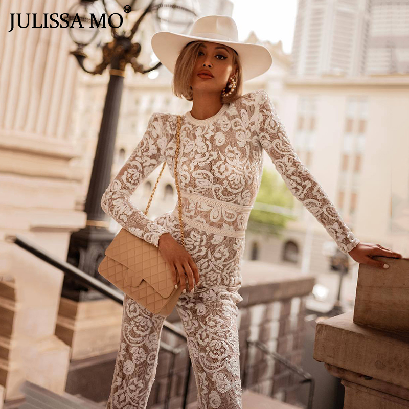JULISSA MO White Floral Lace Jumpsuit Women Long Sleeve Hollow Out Sexy Rompers Female Boot Cut Bodycon Jumpsuits 2019 Overalls