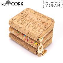 Natural cork zipper card small women wallet BAGD-024