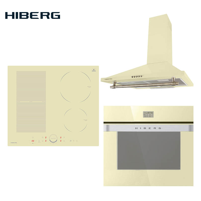 Set The Cooktop HIBERG I-MS 6049 Y, Electric Oven HIBERG VM 6495 Y And Hood HIBERG RYS 6041 Y Household Home Appliances For The