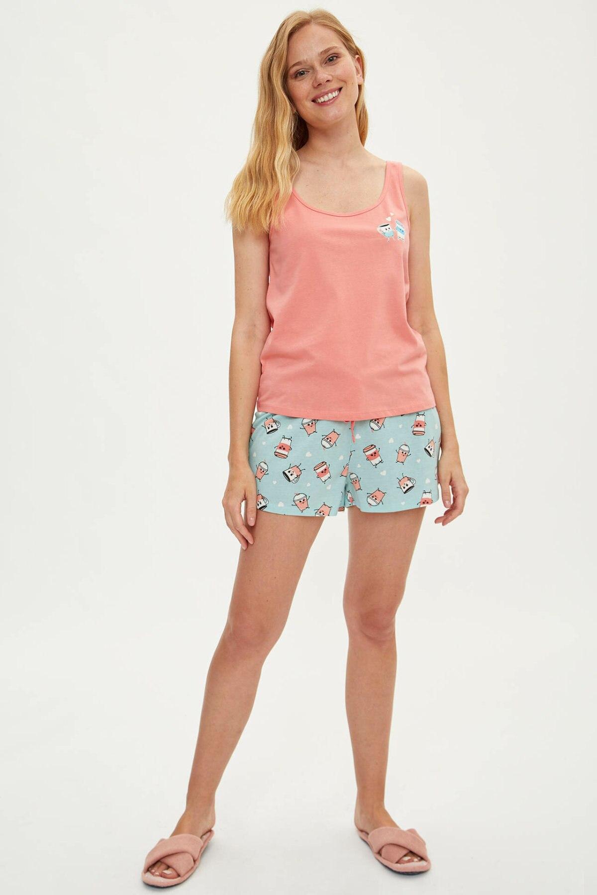 DeFacto Summer Woman Tank Shorts Knitted Sets Ladies Casual Sweet Cotton Vest Short Pants Female Comfort New - K9572AZ19HS