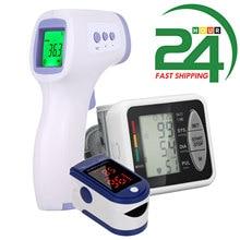Tonômetro monitor de oxigênio no sangue display oled oxímetro de pulso de oxigênio no sangue dedo monitor de saturação de oxigênio + termômetro digital