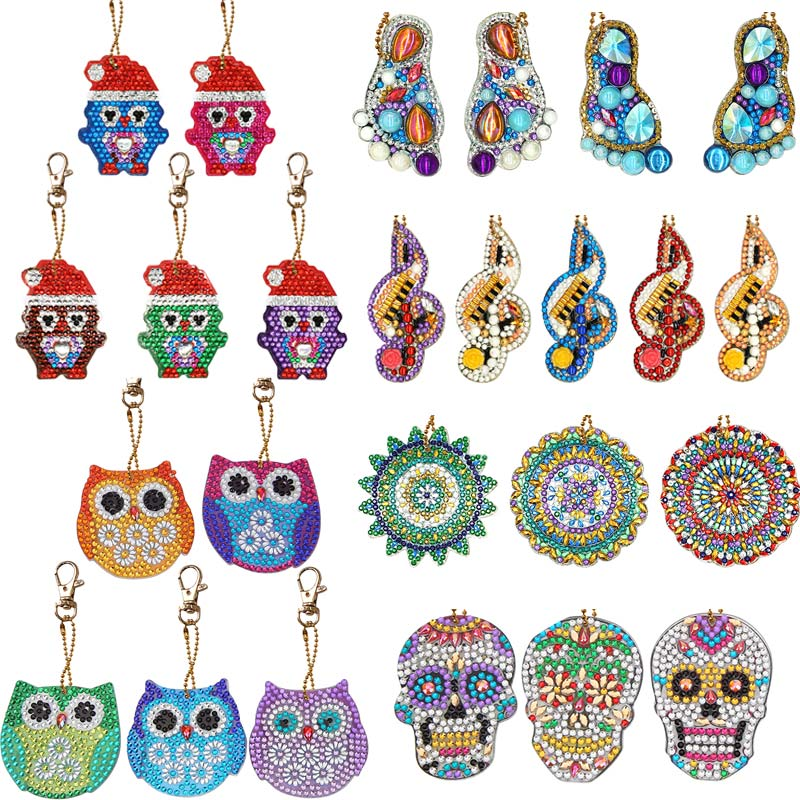 1/4/5Pcs DIY Painting Keychains Full Drill Special Shaped Keychains For Women Kids Christmas Gifts