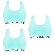 Pack 3 sujetadores deportivos FILA en color azul turquesa fabricados en algodon y elastano