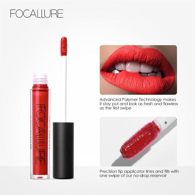 FOCALLURE Waterproof Long-lasting Lip Gloss Pigment Dark Purple Black Red Velvet Matte Liquid Lipstick 2