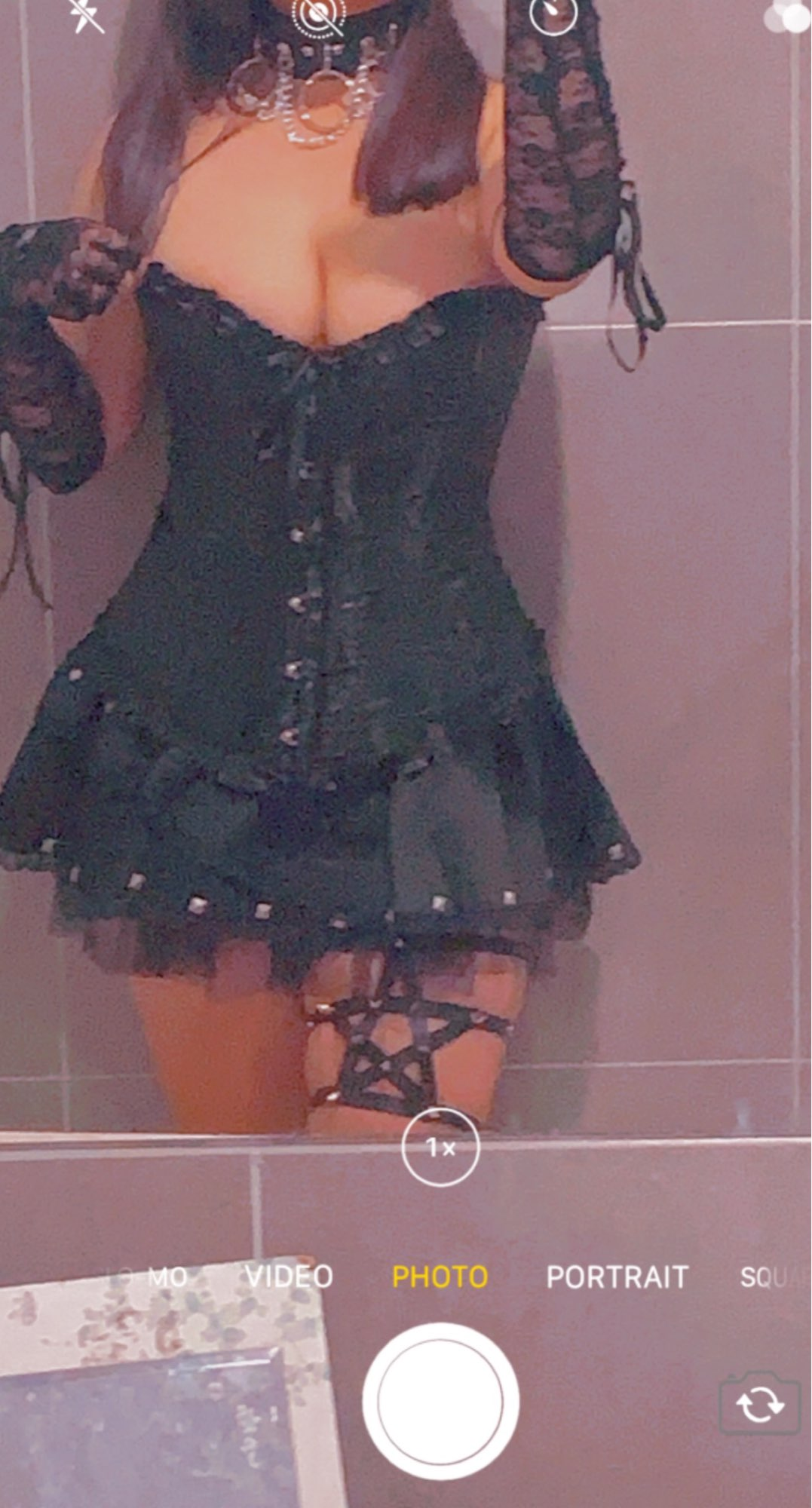 Gothic style Pentagram Garter belt with spikes photo review