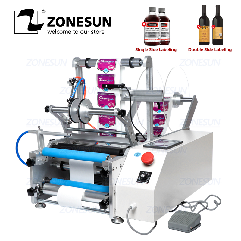 ZONESUN Semi-automatic XL-T801PET Plastic Tin Can Round Glass Alcohol Disinfectant Water Milk Juicer Bottle Labeling Machine