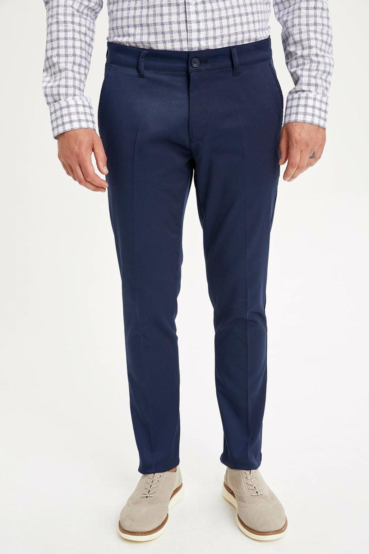 DeFacto Man Autumn Solid Color Long Pants Men Smart Casual Bottoms Male Navy Blue Mid-waist Trousers-L8123AZ19HS