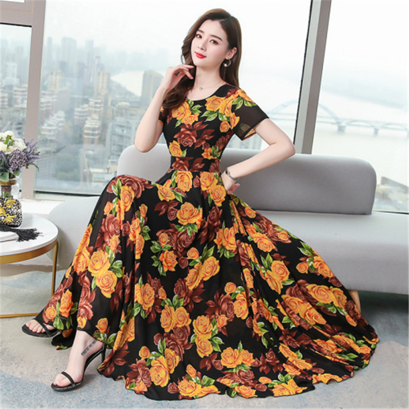 Closeout DealsⁿFloral-Dress Chiffon Short-Sleeved Summer New Long-Section Korean-Version And O-Neck