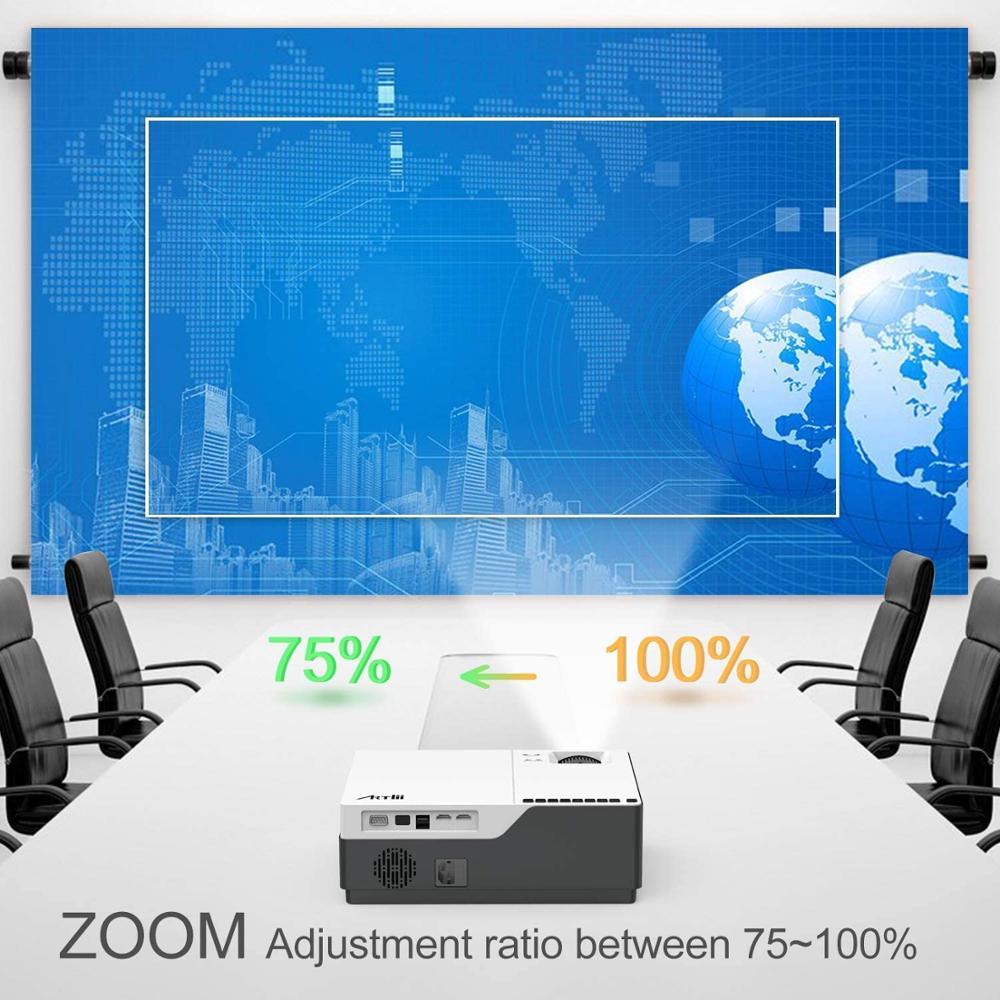 Artlii kamienny projektor Beamer natywny Artlii HD 1080 P, projektor wideo LED, projektor kina domowego, Zoom, HDMI, presentaci