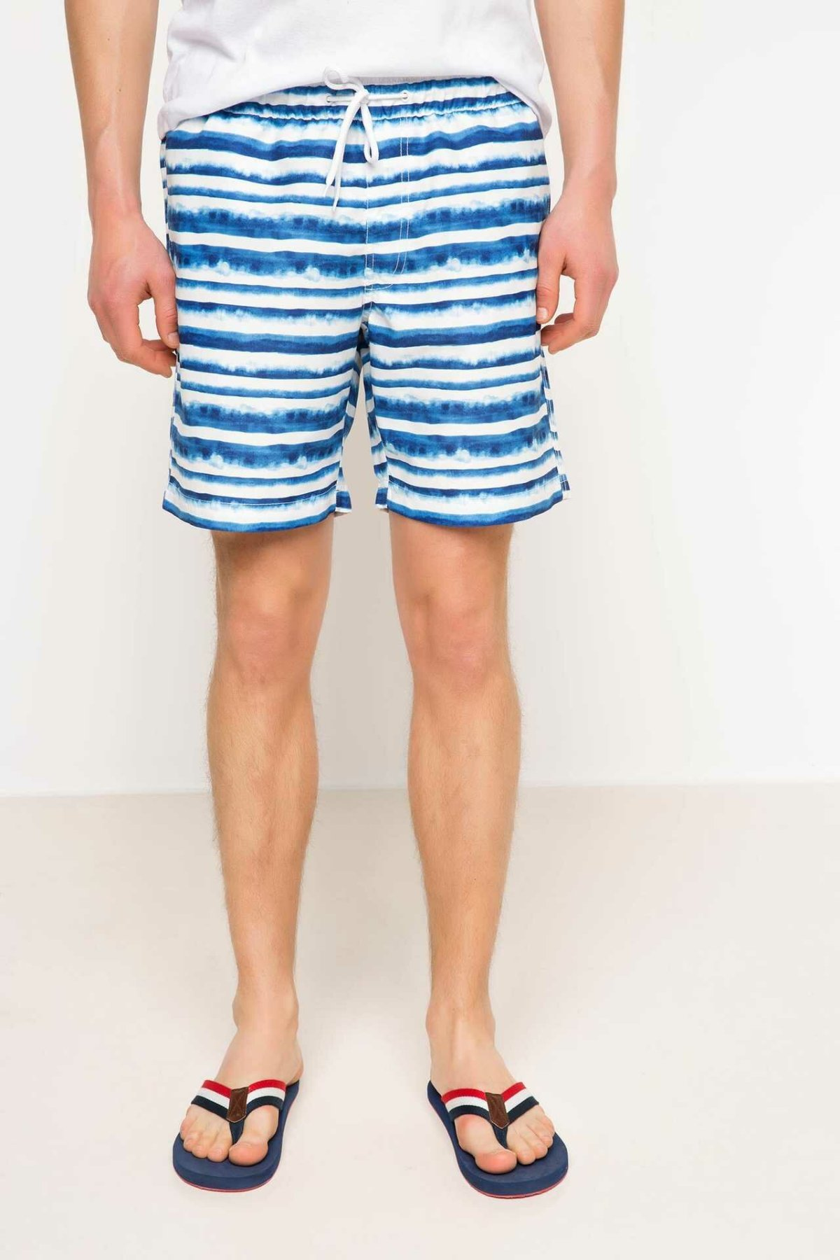 DeFacto Man Woven Swimming Short Men Casual Lace-up Blue White Striped Casual Shorts Male Sports Shorts-G7293AZ17HS