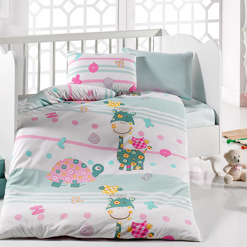 Lady Moda Caretta 4 Pcs Baby Bedding Set 100x150 Cm Crib Bedding Set 100% Cotton Cartoon Baby Bed Linen Set From Turkey