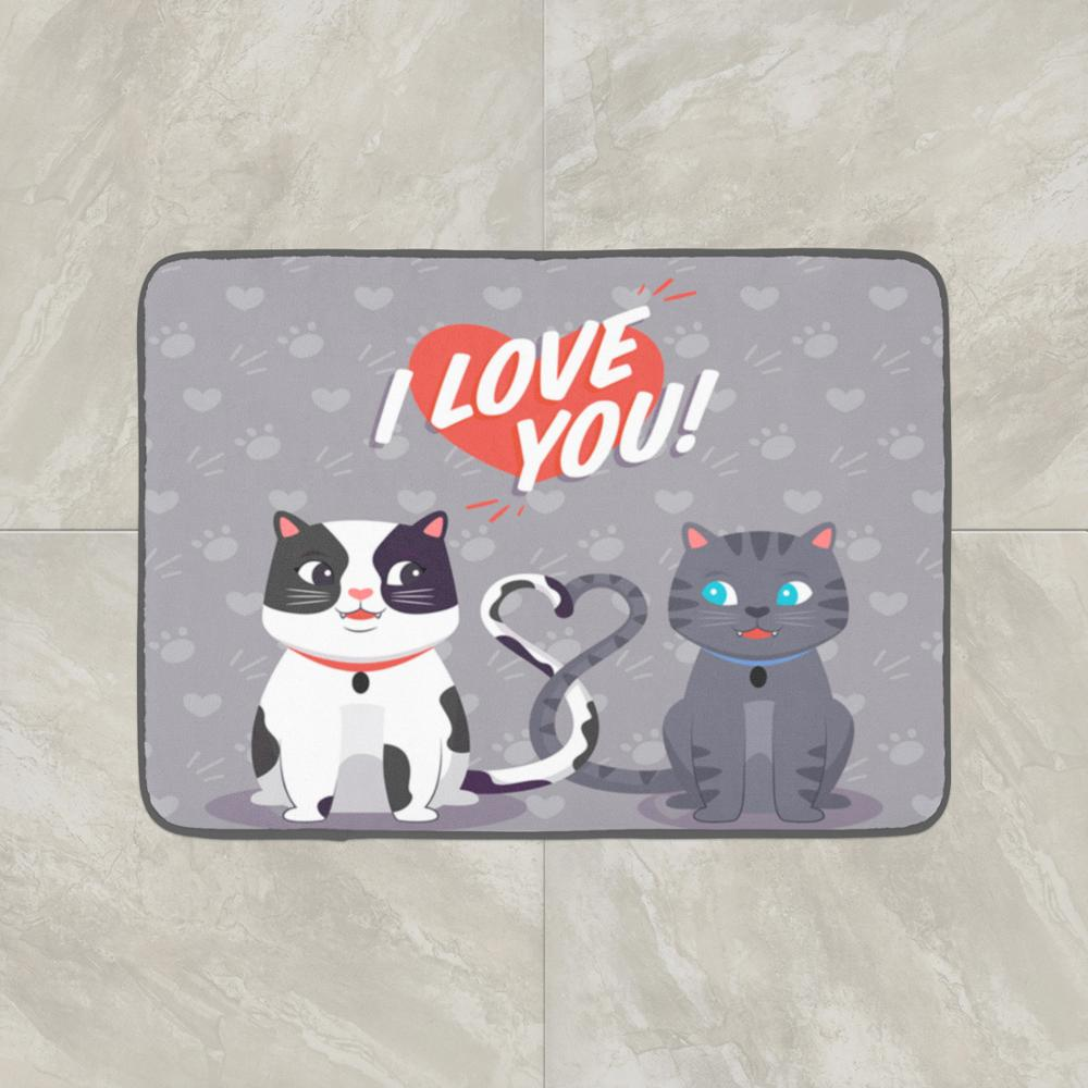 Else Gray Lovely Cats Hearts I Love You  3d Pattern Print Anti Slip Decorative Floor Door Mat Home Entryway Livingroom